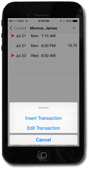 Tap and hold a transaction to get a pop-up menu of options.