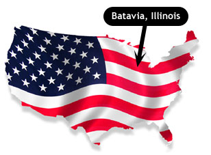 Batavia is about 35 miles west of Chicago.