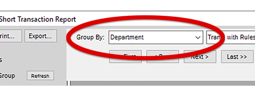 Change the entry in this box at the top of the Report to Department.