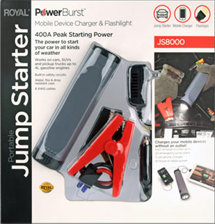 The Royal PowerBurst jump starter can start your car or charge your phone.