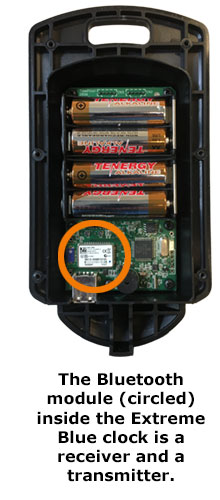 The Bluetooth module (circled) inside the Extreme Blue clock is a receiver and a transmitter.