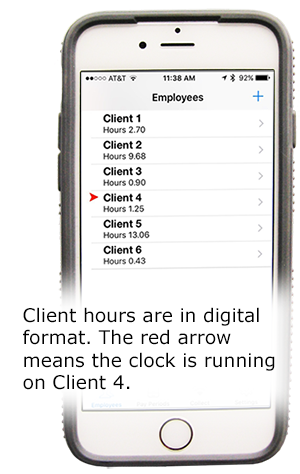 Client hours are in digital format. The red arrow means the clock is running on Client 4.